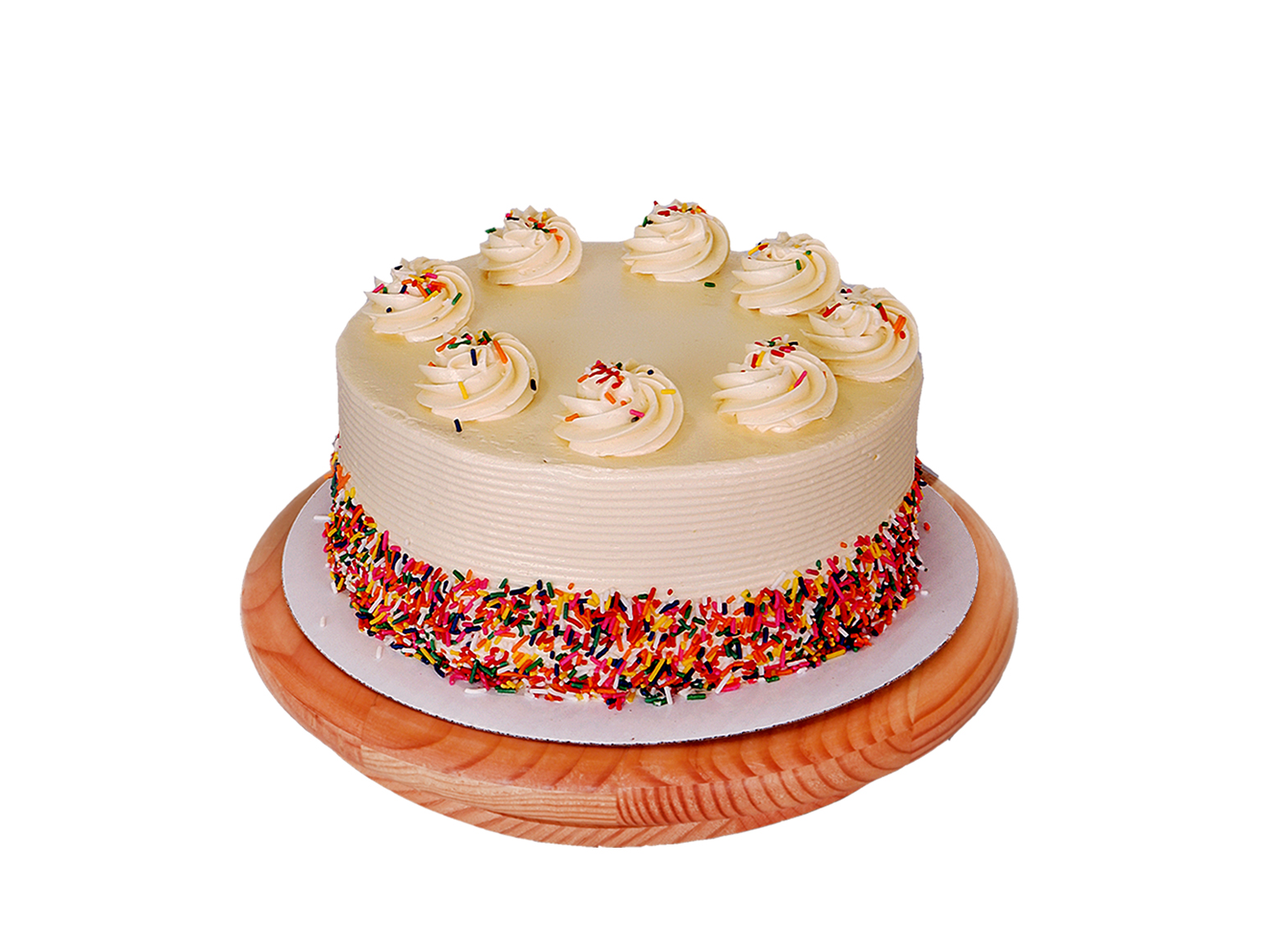 This Cake Says Happy Birthday In Dramatic Buttercream Rosette On Top And Candy Sprinkles Decorations Luscious Vanilla Is Filled With